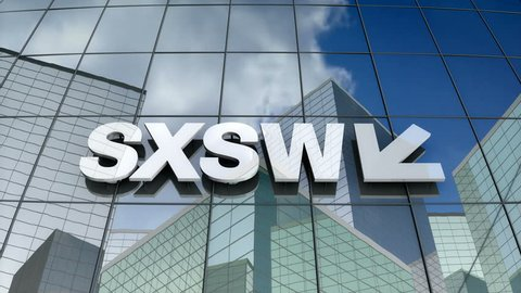March 2018, Editorial use only, 3D animation, South by Southwest/ SXSW LLC logo on glass building.