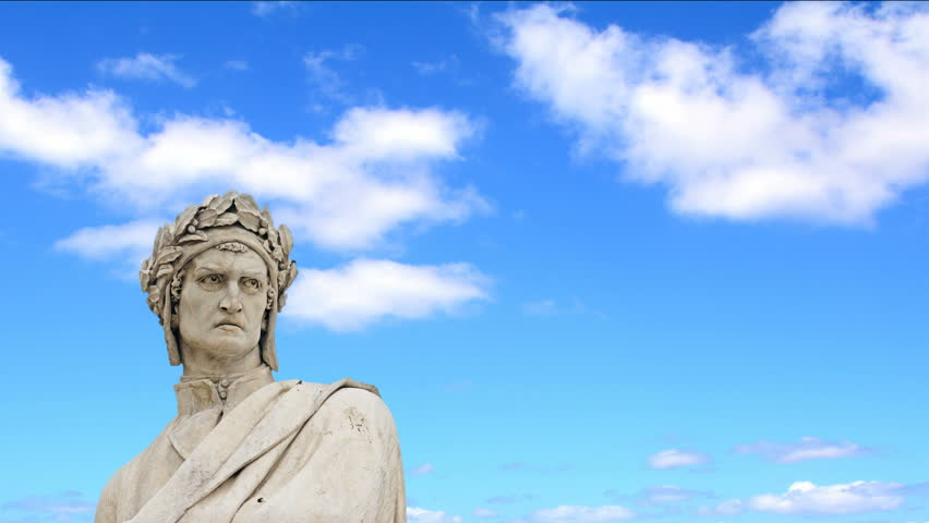 Clouds passing over Dante Alighieri statue in Florence, Italy