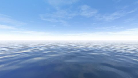 Background with blue sky and sea, 3D rendering, a natural landscape and beautiful animation, motion in clouds and water, fine fog and a white horizon.