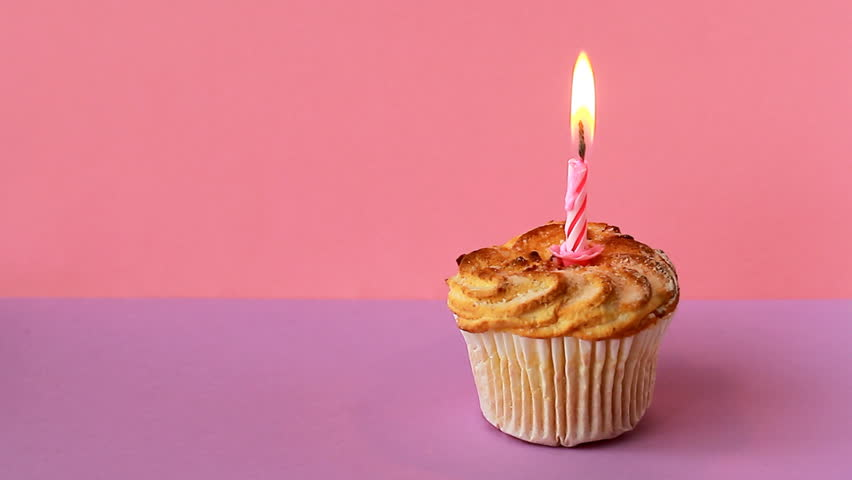 One lighted candle on birthday cake | Shutterstock HD Video #1008808949