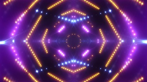 VJ lights multicolored flashing spot light. Wall stage led blinder blinking pink. Club concert dance disco dj matrix beam dmx fashion. floodlight halogen headlamp.