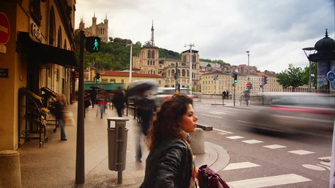Lyon, France- circa 2016: Lyon Streets, French Cityscape, Urban View In the Old City traffic ,ULTRA HD 4k,time lapse