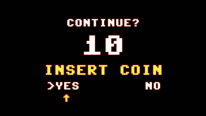 A Game Over screen followed by the request to insert a coin to continue playing. 8-bit retro style, high glowing aura.