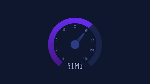 Speedometer Internet Speed 50 mb 100 mb 300 mb Lilac Scale. Motion Graphics. Animation Video.