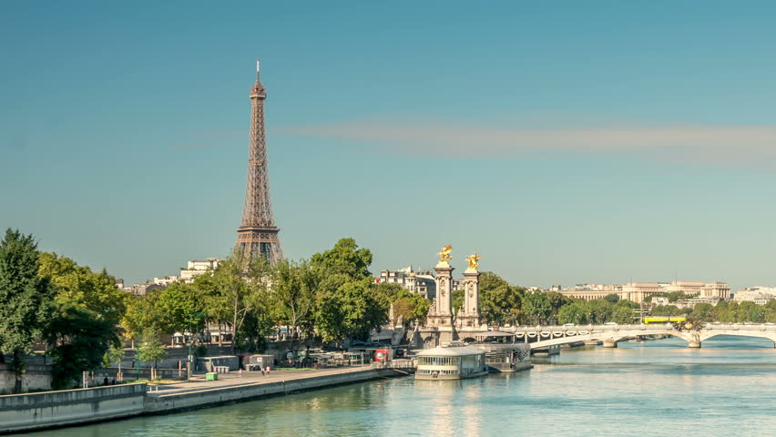 Pont Alexandre III arch bridge, and Eiffel tower, two famous landmarks of Paris. Panning shot. | Shutterstock HD Video #1008850439