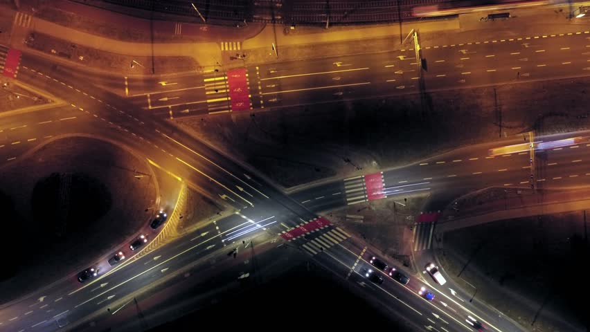 Aerial City Junction Traffic Time Lapse at Night | Shutterstock HD Video #1008856169