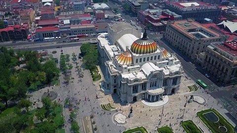 Mexico City - Aerial view of the beautiful Fine Arts Palace (Palacio de Bellas Artes) of Mexico City, Mexico