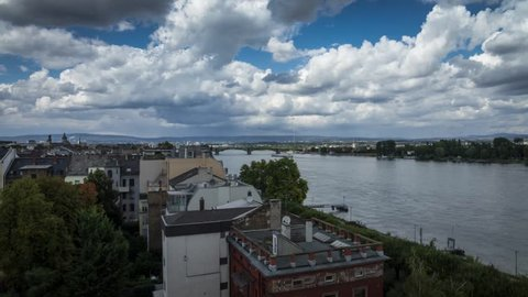 Beautiful clouds are moving at the rhine river in mainz (timelapse)