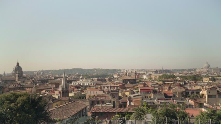 Incredible skyline view of Rome from the Terrazza Viale del Belvedere | Shutterstock HD Video #1008903359