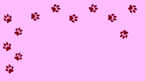 Abstract colorful paw prints. Animal going on different pink perimeter. Traces of the predator animated in isolation.