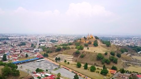 Cholula Mexico Church on Pyramid in Puebla aerial footage