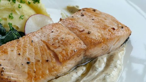 Grilled Salmon meat steak with sauce