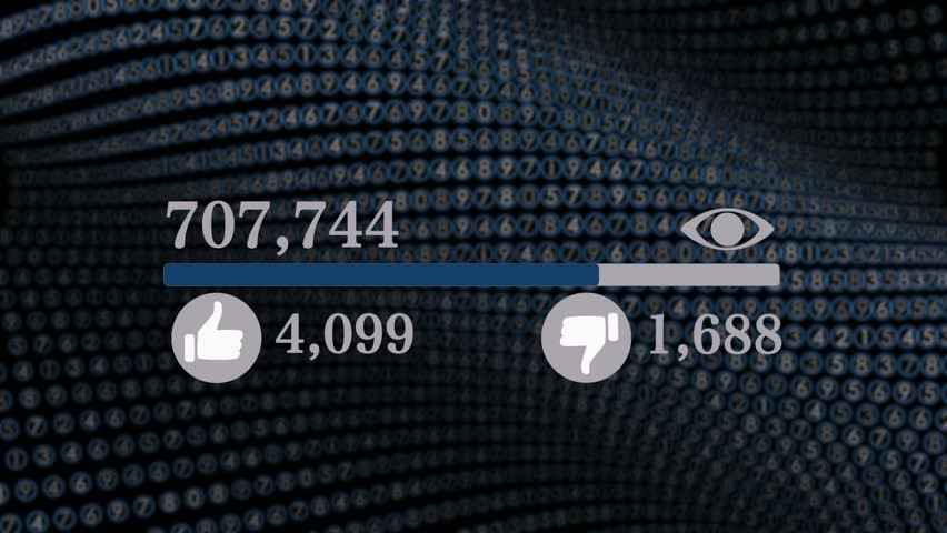 Video Counter Bar Graphic Showing Progess of Views and Likes on Social Media | Shutterstock HD Video #1009031129