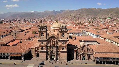 Cusco, Peru, Aerial view of the Plaza de Armas in Cusco, roman catholic cathedral, the main square in the capital of Incas, Cusco, Peru