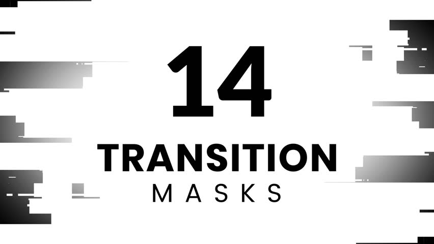 14 futuristic transition masks. Blocky textured displacement maps for HUD design. High technology interface appearance.