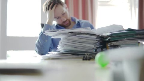 A Pile Of Papers, Letters, Too Much Work For Businessman Shuffling Though 4K.