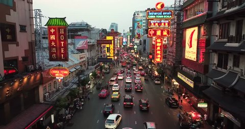 BANGKOK, THAILAND - MARCH 27, 2018: Yaowarat Road in Chinatown, Bangkok, Thailand.