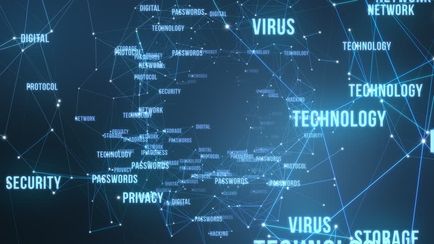 Modern Technological Words and Terms | Flying through 3D Text and Particles with Connected Dots and Polygons | Seamless Looping Animation Motion Background Blue | Shutterstock HD Video #1009109069