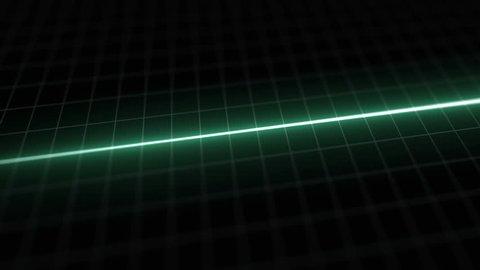 Stylized EKG Flatline, Green. Close up on pixelated heart rate monitor screen / electrocardiogram (EKG or ECG) beeping then flatlines. Shallow depth of field, LCD pixels, 60fps.