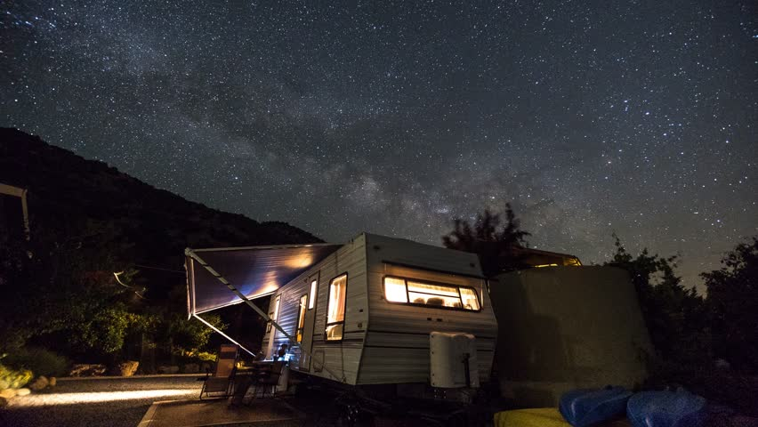 Three Rivers - Starry Night Sky, Stars, Milky Way over an RV / Camper / Trailer Astro Time Lapse