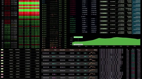 Many different stat screens from the desktop of a cryptocurrency trader.