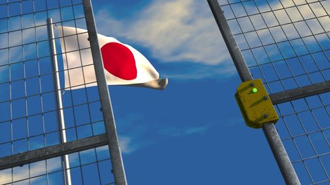 3D animation of a Japanese flag waving on a flagpole with a security gate closing and locking in the foreground; depicting barriers to trade and immigration.