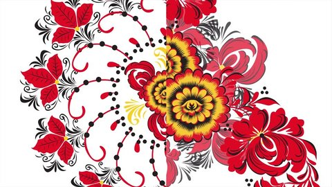Khokhloma. Abstract fractal transformation background. Loopable. Painting Khokhloma Russia of bright red flowers and berries on black and gold background. Abstract background of red polygons
