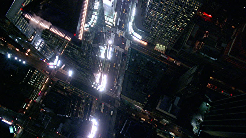 Aerial shot of Manhattan Times Square in New York at Night | Shutterstock HD Video #1009211729