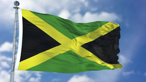 Jamaica Flag in a Blue Sky. Use this clip loud and proud to express loyalty and love to our country. It is a seamless loop with luma channel.