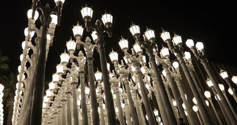 Los Angeles, CA - January 25, 2018: 'Urban Light' is a large-scale assemblage sculpture by Chris Burden at the Los Angeles County Museum of Art LACMA. The installation consists of 202 restored street
