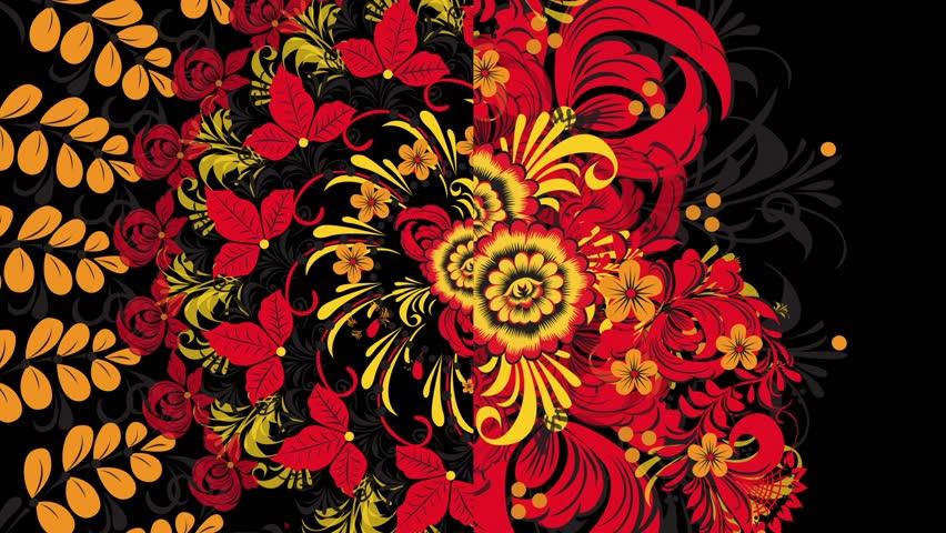 Khokhloma Russia of bright red flowers and berries on black background. Animation Khokhloma