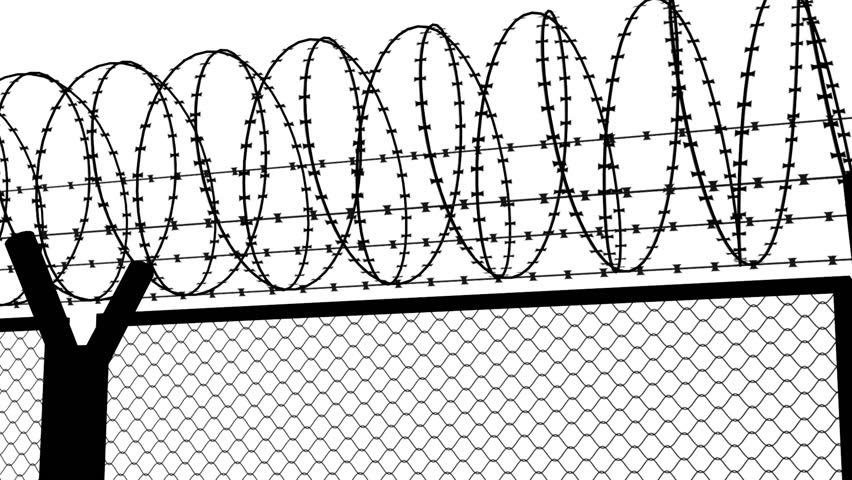 stock video of fence with a barbed wire