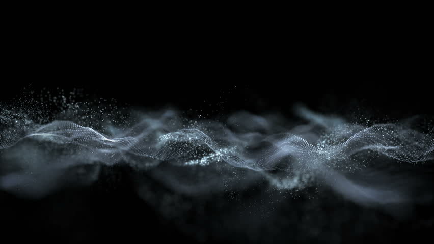 Blue gray wave music and small particles dance motion on form background. Modern and technological style with move over wave | Shutterstock HD Video #1009293209