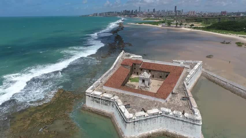 Natal, Rio Grande do Norte / Brazil - 04/02/2017: Aerial view of Forte dos Reis Magos (Fortress of Magi), a historic militar construction founded in 1599 at Potenji River's mouth