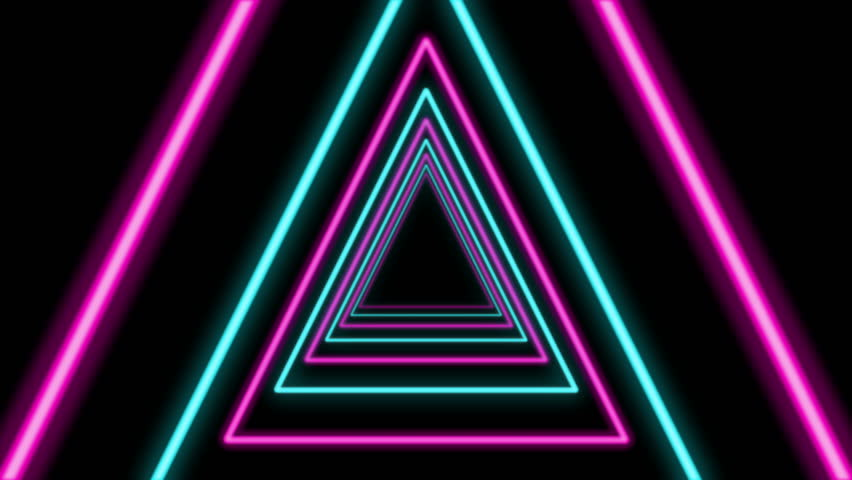 A sci-fi Loopable 3d rendering of a triangular looking tunnel in the black background. It is sparkling and multicolored and has turquoise, violet and pink figures located in one long pipe | Shutterstock HD Video #1009314509