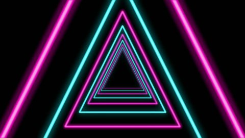 A sci-fi Loopable 3d rendering of a triangular looking tunnel in the black background. It is sparkling and multicolored and has turquoise, violet and pink figures located in one long pipe