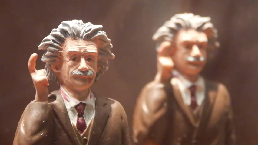 Albert Einstein Moving Figurine Behind Showcase - Static