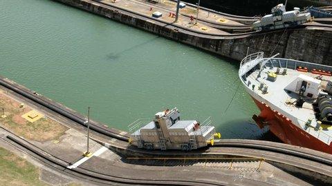 Ship crossing the Panama Canal at Miraflores Locks, Panama City