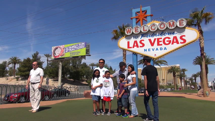 LAS VEGAS - USA, MARCH 28, 2013, Timelapse Of Tourists Group Enjoy Take  Photo To Iconic Welcome Town Sign Stock Footage Video 1009329929 |  Shutterstock