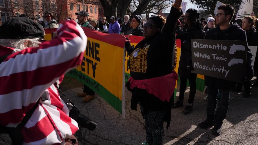 Washington, DC March 24, 2018. Black lives matter at the March of Our lives Protest, Washington DC, 3 Axis Gimbal