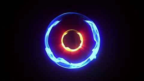 Blue Energy Plasma Ball Nucleus Loop Alpha Matte 3D Renderings Animations