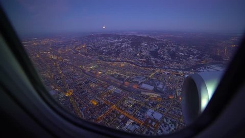 Turin (Torino) aerial view. Torino cityscape seen from the window of the cabin airplane, Italy. skyline and lights in the wonderful city