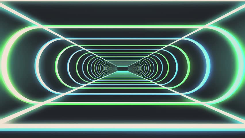 In out flight through neon rib lights abstract cyber tunnel motion graphics animation background new quality retro futuristic vintage style cool nice beautiful video footage