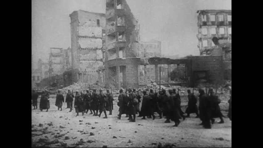 CIRCA 1942 - Russian Army reserves cut off the German Army surrounding Stalingrad, and children of the city celebrated Christmas.