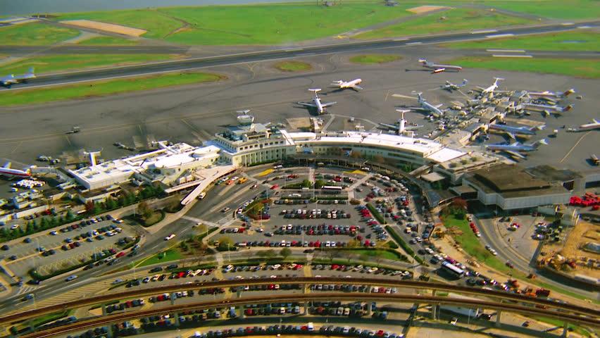 WASHINGTON DC - CIRCA 1990s - 1990s - Aerial over Ronald Reagan International airport in Washington D.C.