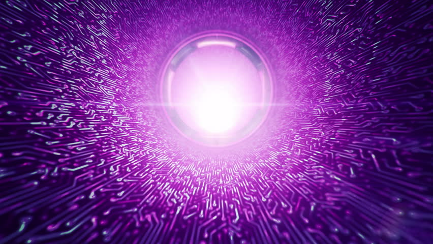Animation of flying into digital technologic tunnel from glowing and flickering particles and circuit surface. Animation of seamless loop. #1009436909
