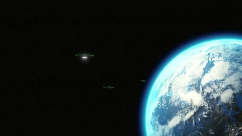 Animated UFOs flying from Earth - 3D 4K, metallic spaceships with green lights