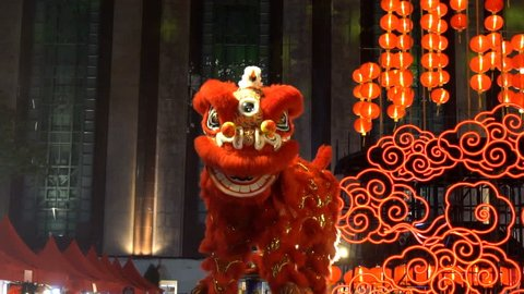 Chinese lion performing , Slow motion.