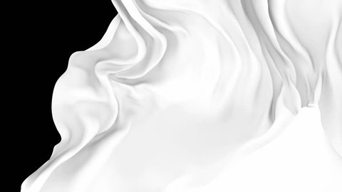 UHD 3D animated transition of the milky white waving cloth flies away revealing the background
