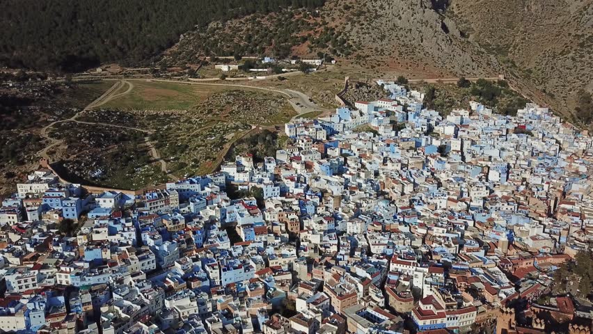 Aerial view of famous Medina blue old city Chefchaouen, Morocco, 4k #1009492589